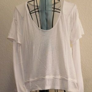 Free People White Cotton Magic Tee Top XS